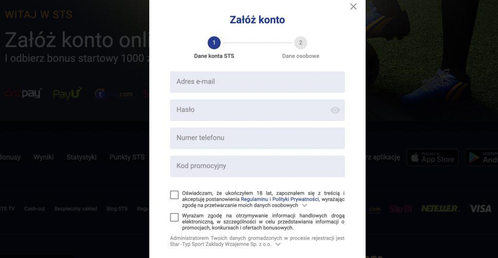 szybka rejestracja w sts online