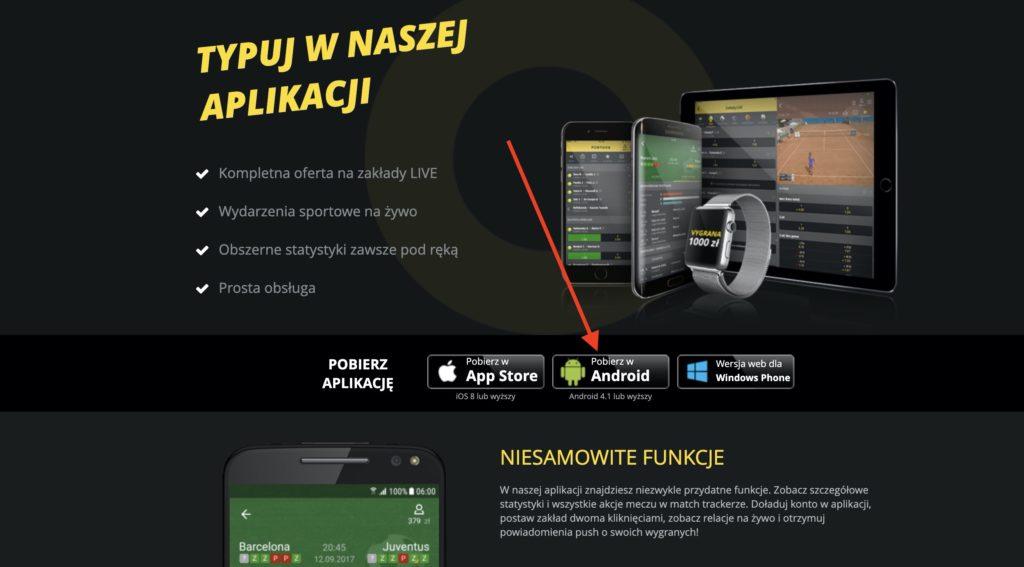 Fortuna aplikacja mobilna pobieranie (krok 2)