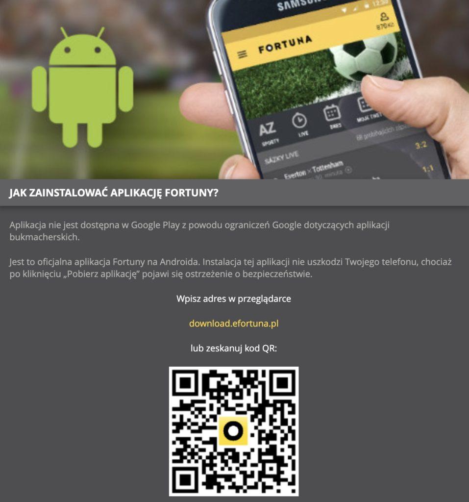 Fortuna aplikacja mobilna pobieranie (krok 3)