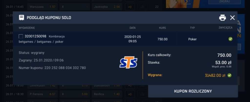 STS Betgames wygrany kupon